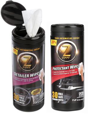 Zippy automotive wipes